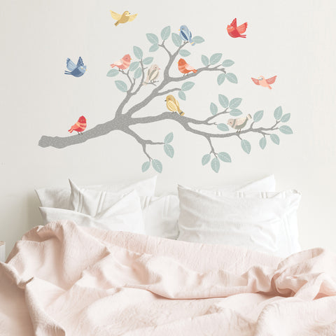 Tree Branch Wall Decal with Birds Nursery Wall Decor Bird Fabric Wall Stickers Peel and Stick Girls Wall Decals Repositionable