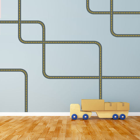 Gray Road Wall Decals with Yellow Lines Curved and Straight, Fabric Wall Stickers - Wall Dressed Up