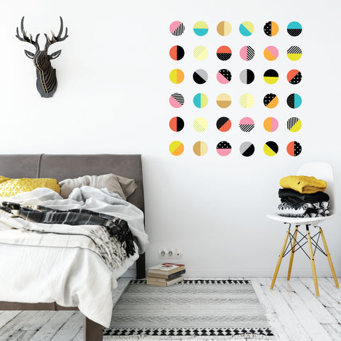 Color Pop Polka Dot Wall Decals, 36 Patterned Wall Stickers, Reusable Fabric Decals - Wall Dressed Up