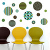 Delightful Dots: Teal, Lime Green and Brown Wall Decals, Eco-Friendly Reusable Decals - Wall Dressed Up