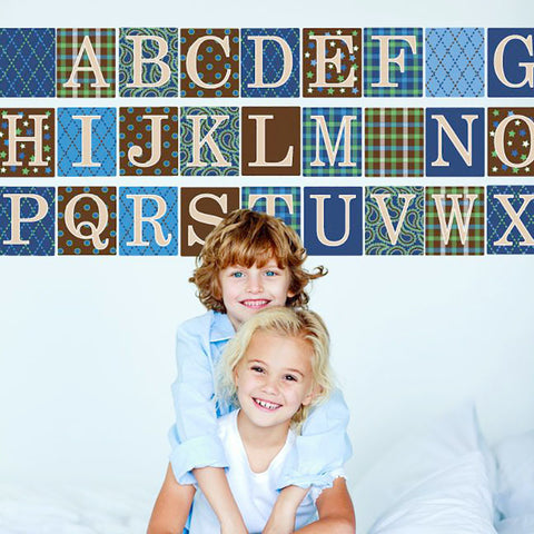 Alphabet Blocks in Blue, Green and Brown Wall Decals, Eco-Friendly Removable Wall Stickers - Wall Dressed Up