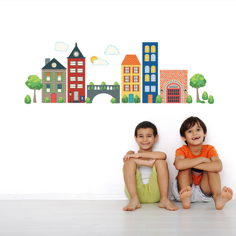 Busy Transportation Town Wall Decals - Wall Dressed Up - 1