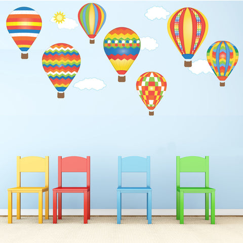 Hot Air Balloon Wall Decals and Clouds Reusable Wall Stickers, Primary Colors Eco-Friendly Wall Stickers - Wall Dressed Up