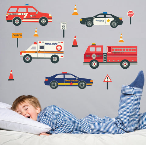 Emergency Vehicle Wall Decals, Eco-Friendly Reusable Fabric Wall Stickers - Wall Dressed Up