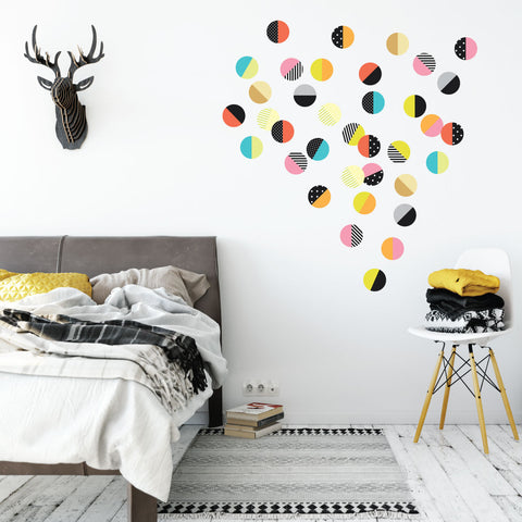 color pop polka dot wall decals, 36 patterned wall stickers, reusable
