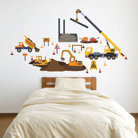 Construction Site Truck and Vehicle Wall Decals, Eco-Friendly Wall Stickers - Wall Dressed Up