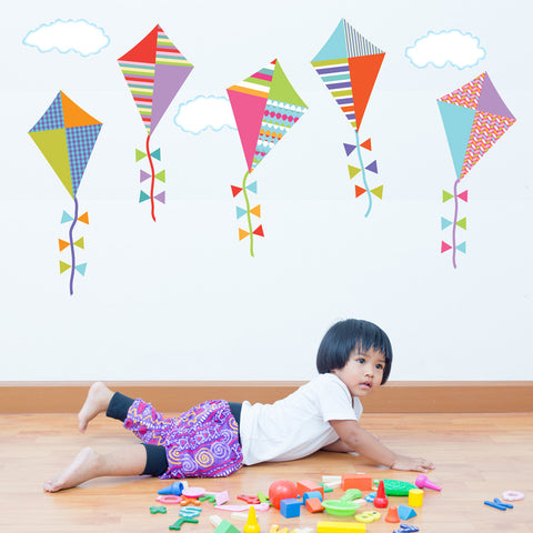 Multicolor Kite Wall Decals with Clouds, Reusable Eco-Friendly Wall Stickers, Col.1 - Wall Dressed Up