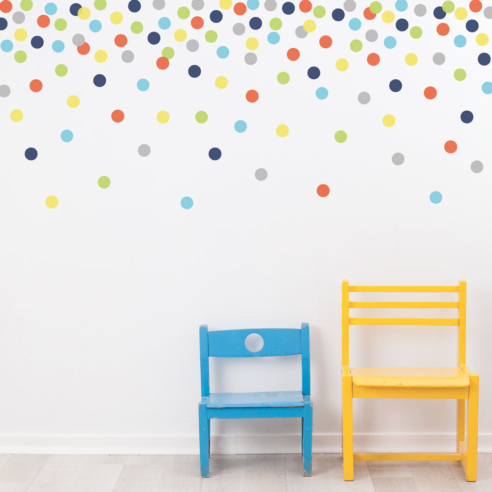 121 Polka Dot Wall Decals, Navy Orange Green Gray Blue Yellow Eco Friendly  Peel