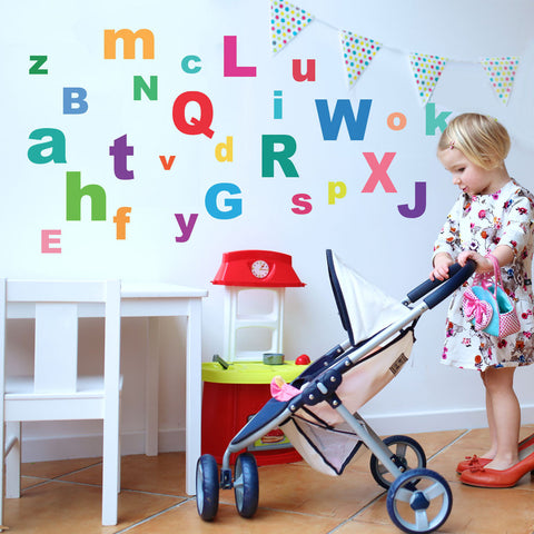 A-Z Bright Alphabet ABC's Fabric Wall Decals, Eco-Friendly Reusable - Wall Dressed Up