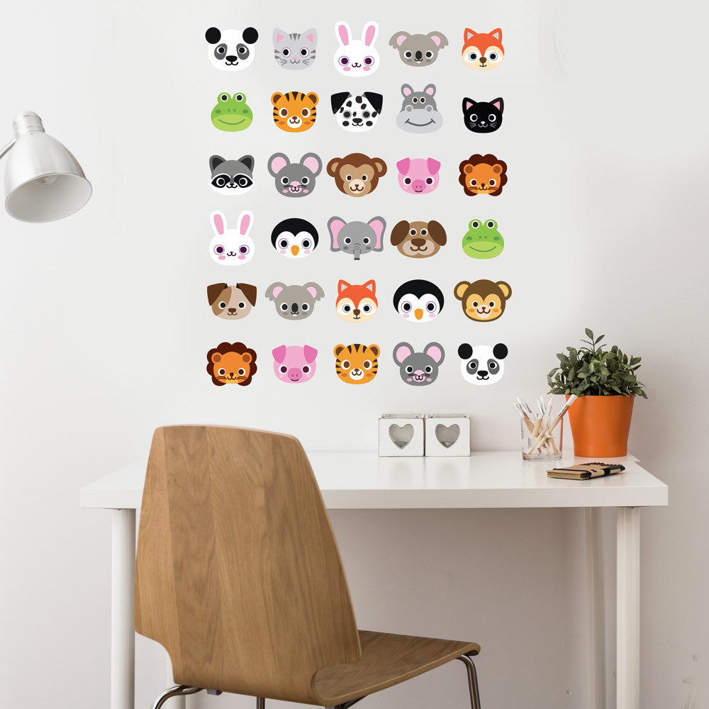0e1854ee5d 30 Animal Emoji Fabric Wall Decals, Removable and Reusable - Wall Dressed Up