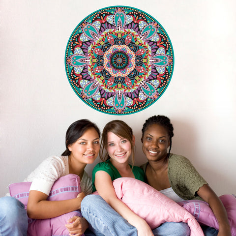 "Boho Brights Mandala Fabric Wall Decal 24"" or 36"" - Wall Dressed Up - 1"