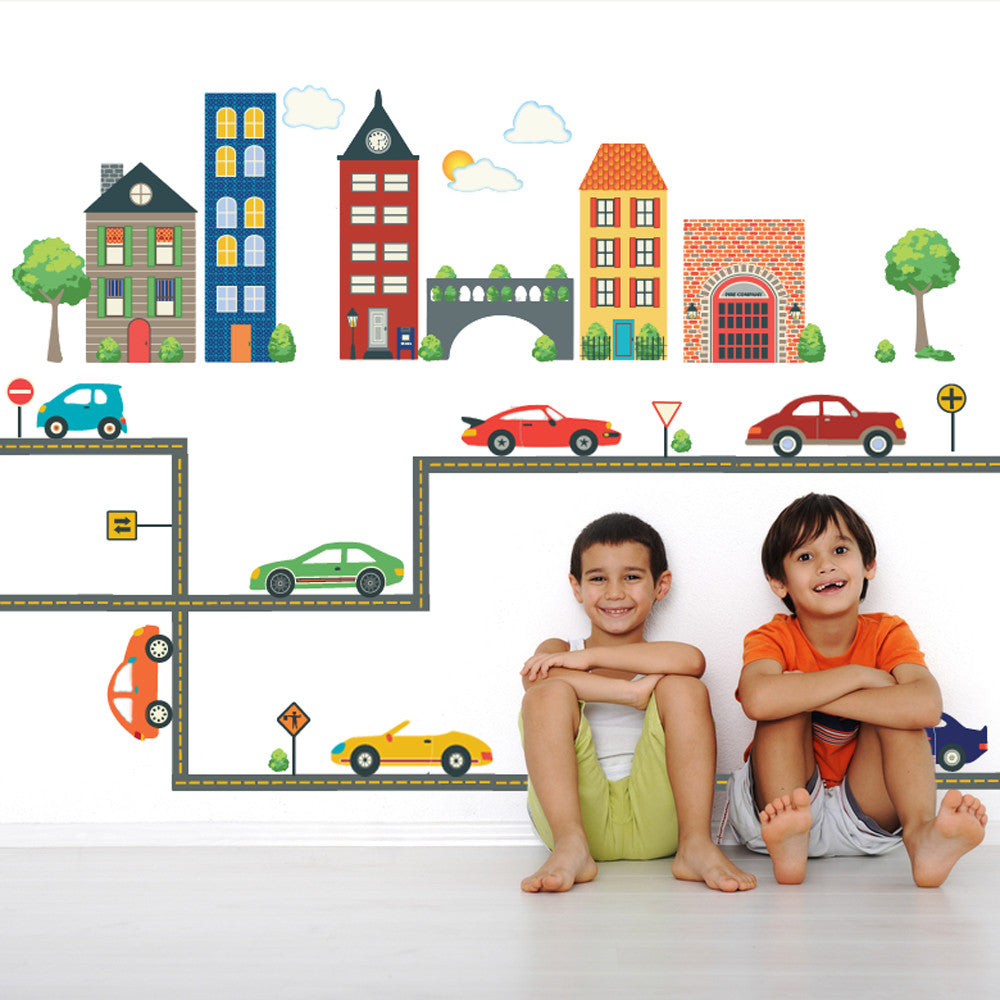 Transportation Wall Decals Town with Cars and Roads Reusable Removable Fabric Wall Decal Stickers Traffic Signs Boys Room Nursery Decor Art