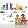 Busy Transportation Town Wall Decals with Cars and Straight Gray Road - Wall Dressed Up - 1