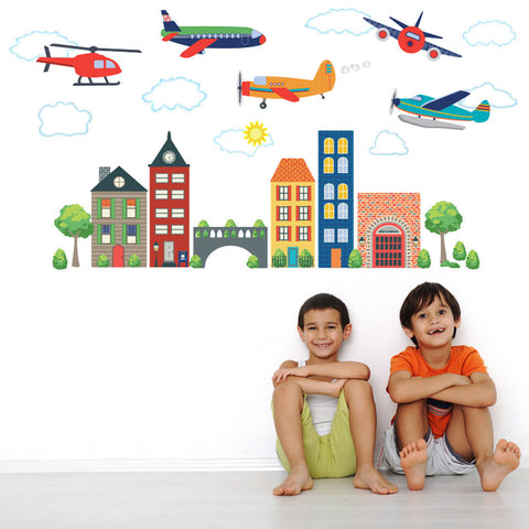 Airplanes, Helicopter & Transportation Town Wall Decals - Wall Dressed Up - 1