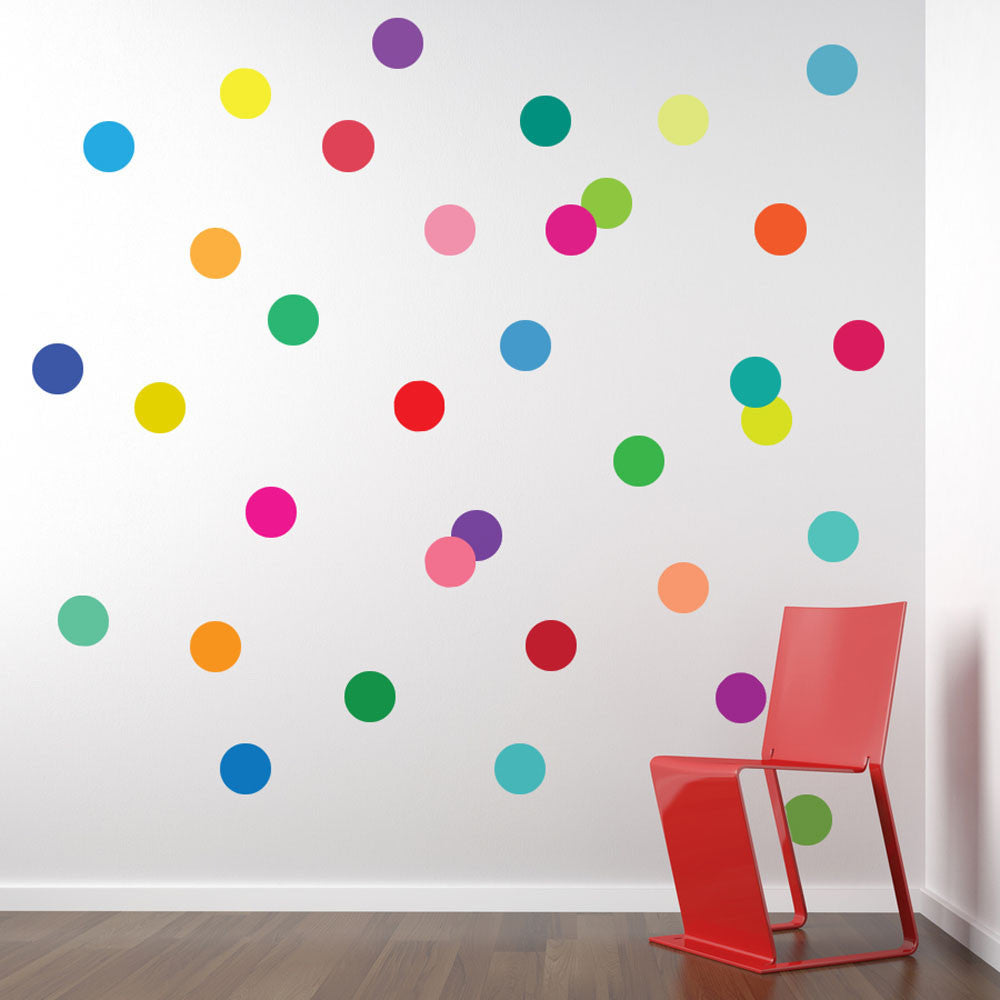 36 Rainbow Of Colors Polka Dot Wall Decals   Wall Dressed Up   1