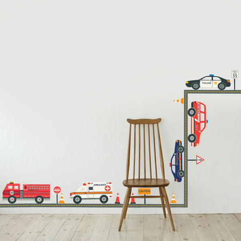 Emergency Vehicle EMS Wall Decals, Gray Straight Road, Eco-friendly Fabric Stickers - Wall Dressed Up