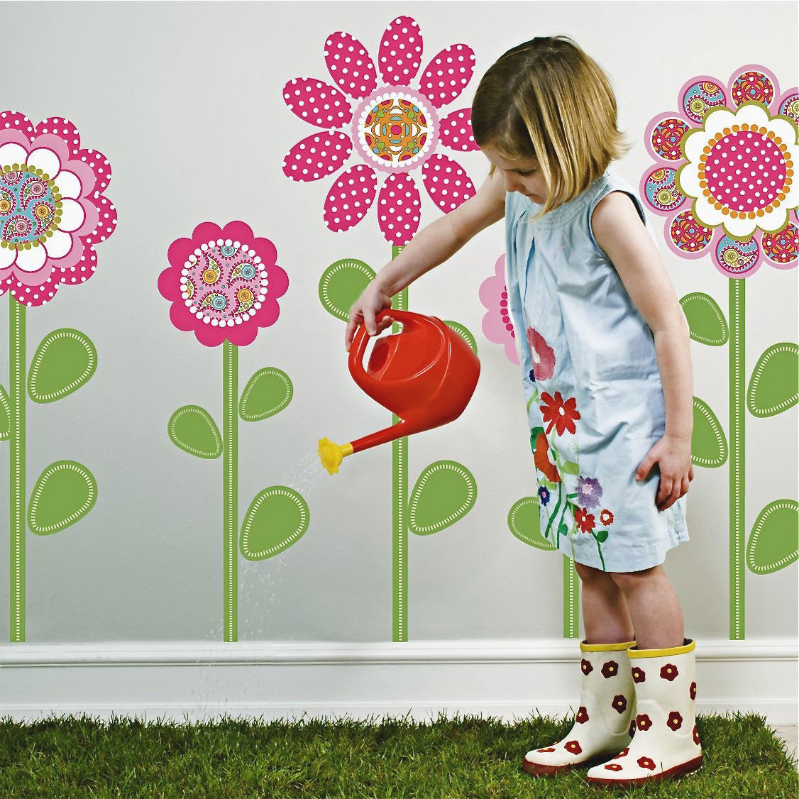 Pink Multicolor Flower Power Wall Decals With Leaves And Stems - Wall decals leaves