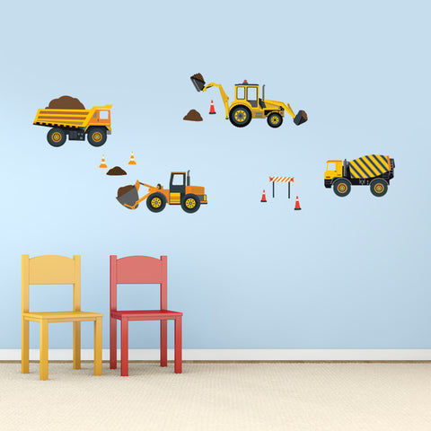 Four Construction Vehicle Wall Decals - Wall Dressed Up - 1