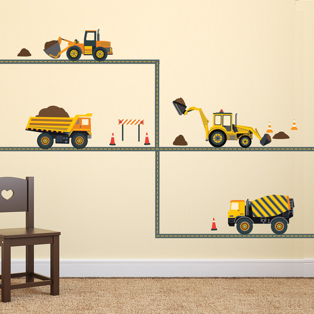 Transportation decals wall dressed up four construction vehicle wall decals with straight gray road wall dressed up 1 amipublicfo Images