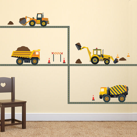 Four Construction Vehicle Wall Decals with Straight Gray Road, Eco-Friendly Fabric Wall Stickers - Wall Dressed Up