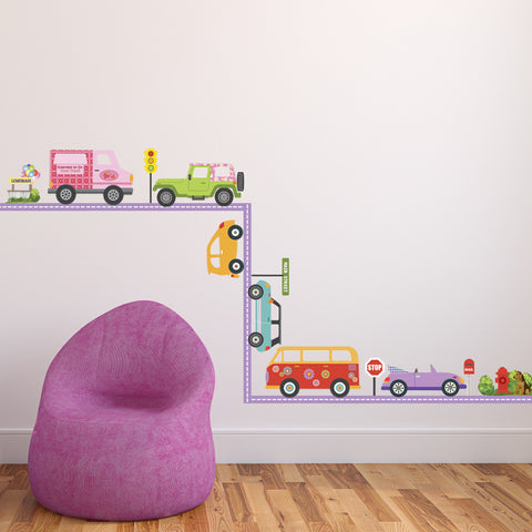 Colorful Girls Adventure Cars with Purple Straight Road Wall Decals - Wall Dressed Up