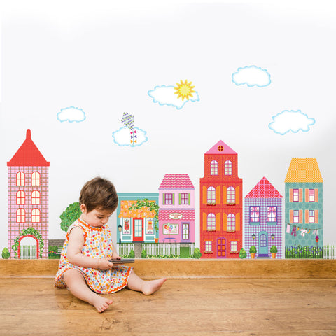 Large Girl's Dollhouse Town Wall Decals, Removable Eco-Friendly Peel and Stick Fabric Wall Stickers - Wall Dressed Up