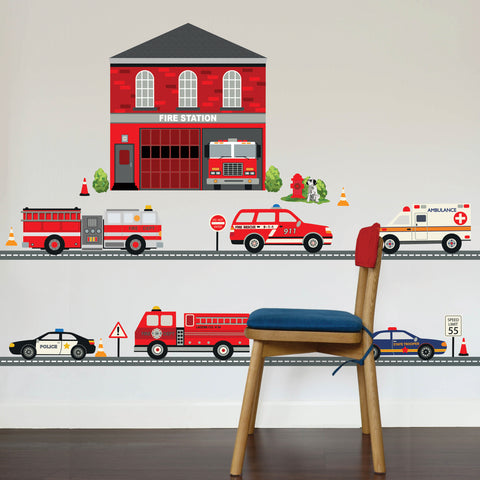 Large Fire Station Wall Decal, Fire Engine Wall Sticker, 5 Emergency Vehicles plus 15 Ft of Straight Road, Eco Friendly Wall Decal Stickers