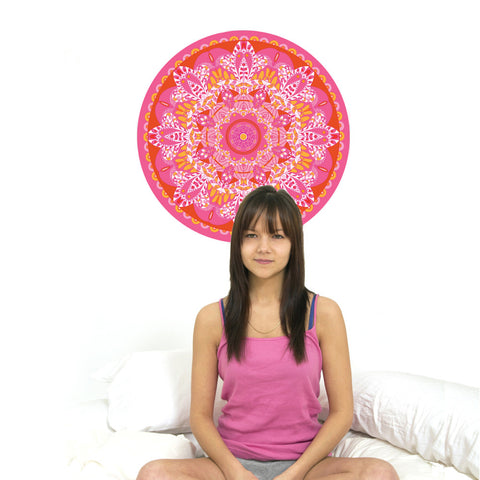 "Boho Pink, Orange, Fuschia Mandala Wall Decal in 24"" or 36"" - Wall Dressed Up"