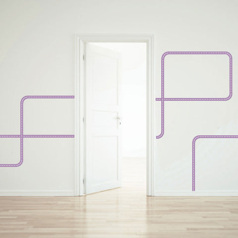 Purple Road Wall Decals Curved and Straight - Wall Dressed Up