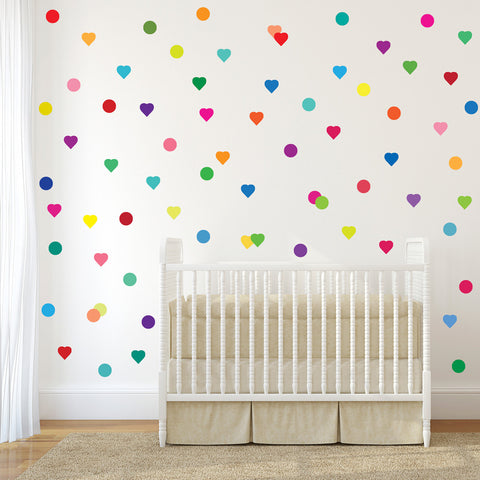 72 Confetti Rainbow Heart and Polka Dot Wall Decals - Wall Dressed Up
