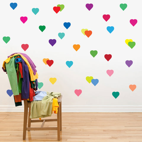36 Rainbow Confetti Heart Wall Decals - Wall Dressed Up