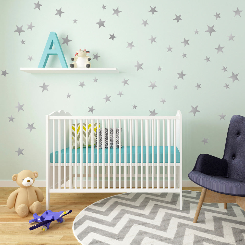 55 Metallic Silver Five   Point Star Vinyl Wall Decals (multi Sized)   Wall