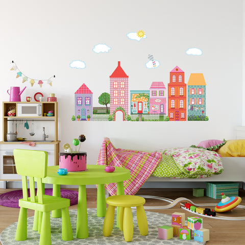 Girl's Dollhouse Town Wall Decals, Removable and Reusable Peel and Stick Eco-Friendly Matte Fabric Wall Stickers - Wall Dressed Up