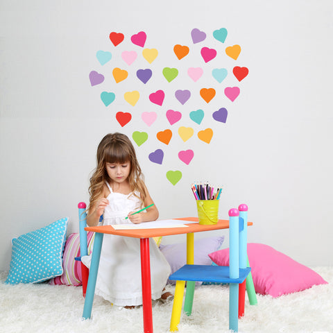 36 Sweet Confetti Solid Heart Wall Decals - Wall Dressed Up