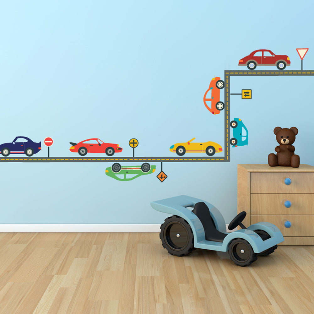cool cars and straight gray road wall decals wall dressed up 1
