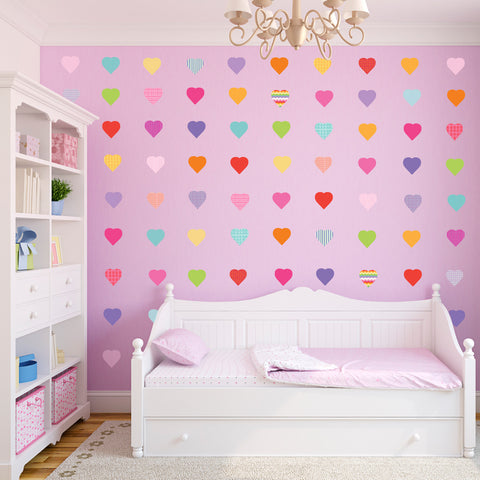 72 Sweet Confetti Patterned and Solid Heart Wall Decals, Eco-Friendly Removable - Wall Dressed Up