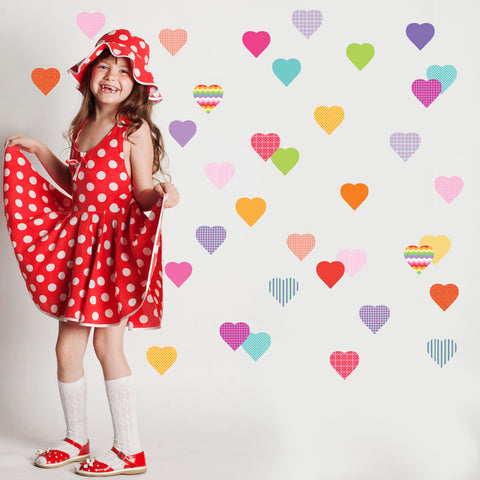 36 Sweet Confetti Patterned and Solid Heart Wall Decals - Wall Dressed Up