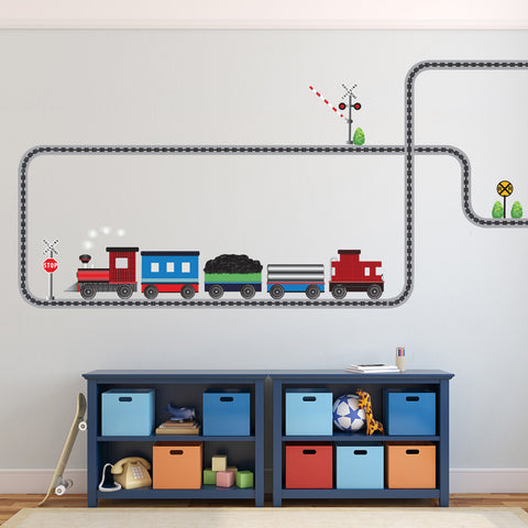 Red Caboose Freight Train Wall Decals & Railroad Track Straight and Curved (Left Facing) - Wall Dressed Up - 1