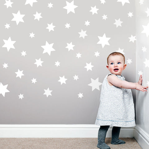 49 White Star Wall Decals Repsitional Matte Fabric Wall Stickers - Wall Dressed Up