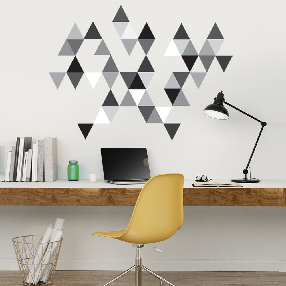 45 mod triangle wall decals in gray black and white eco friendly 45 mod triangle wall decals in grays black and white wall dressed up amipublicfo Gallery