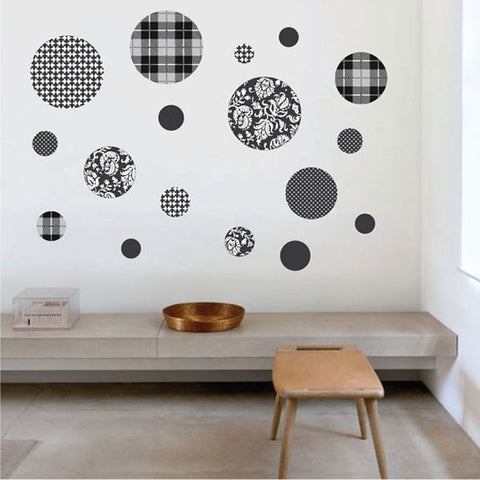 Black and White Patterned Wall Decals, Eco-Friendly Matte Wall Stickers - Wall Dressed Up