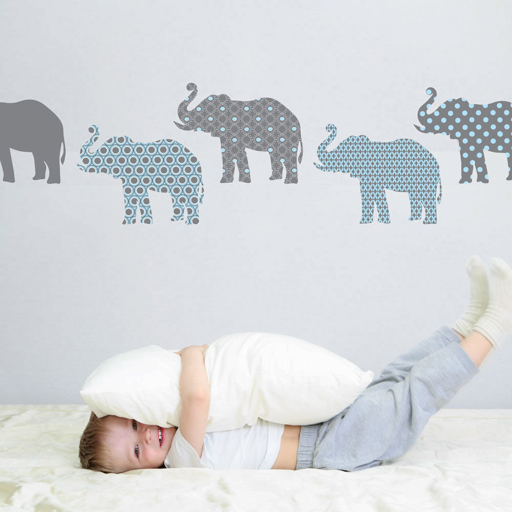 Eight Patterned Gray And Baby Blue Elephant Wall Decals   Wall Dressed Up    1