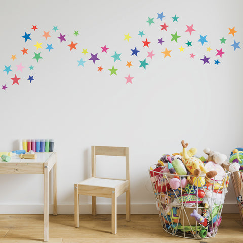 Wall Decals Stars Rainbow Colors Eco-Friendly Fabric Removable & Reusable Wall Stickers - Wall Dressed Up