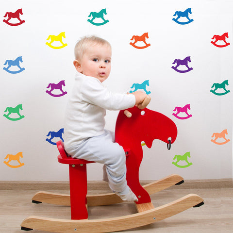 33 Miniature Bright Multi-color Rocking Horse Wall Decals - Wall Dressed Up