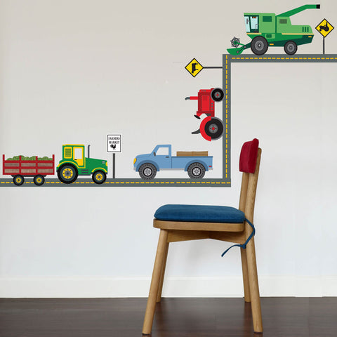 Four Farm Vehicle Wall Decals plus Gray Straight Road,  Eco-Friendly Fabric Decals - Wall Dressed Up
