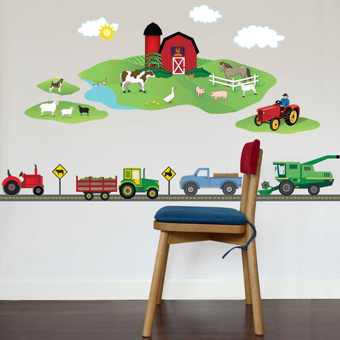 Farm Scene with Farm Vehicle Wall Decals plus Gray Straight Road, Eco-Friendly Fabric Wall Stickers - Wall Dressed Up