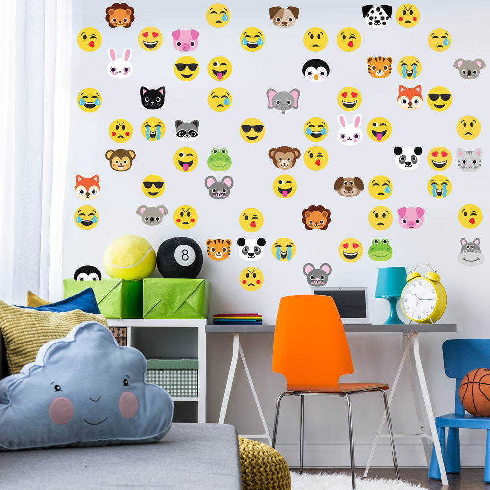 Animal Emoji Plus Emoji Fabric Wall Decals Wall Dressed Up - Emoji wall decals