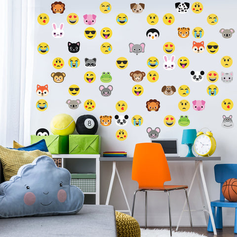 30 Animal Emoji plus 36 Emoji Fabric Wall Decals - Wall Dressed Up