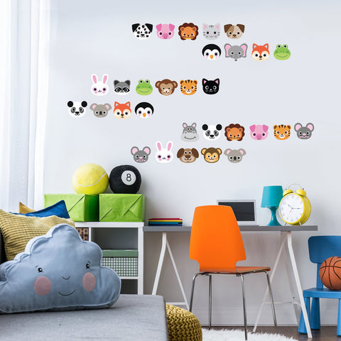 30 animal emoji fabric wall decals removable and reusable wall dressed up 2