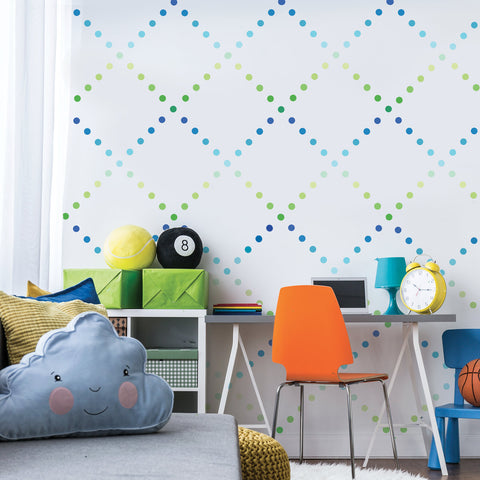 "Mini 2"" Ombre Blue Green Polka Dot Wall Decals, Reusable"